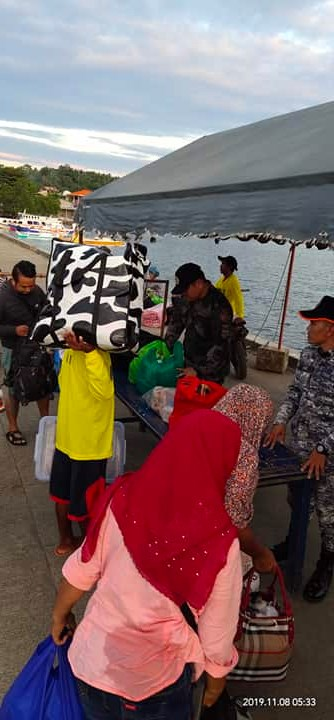 Pat Jaymar R Laureano of Sarangani Municipal Police Station conducted area security and baggage inspection to the passenger/tourist during the arrival of the M/L SABHAN together with Philippine Coast Guard at Port Mabila Sarangani Davao Occidental
